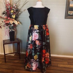 Formal full length gown. Black and floral.